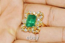 GIA Certified Natural 9cts Emerald VS F Diamond 18K Solid Gold Cocktail Ring