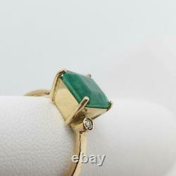 GIA Certified Natural Colombian Emerald Ring 18K with Y Gold Diamonds