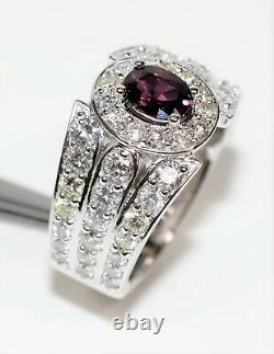 GIA Certified Ruby & Diamond 3.61tcw 14kt White Gold Pave Statement Men's Ring