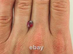 GIA Certified Unheated 1.11 carat pinkish red cushion cut ruby
