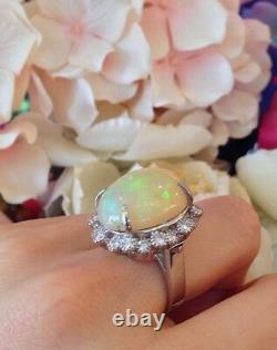 GIA certified 13.33 ct Natural Opal and Diamond Ring in Platinum HM1414BE