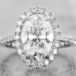 Lovely 1.60 Ct. Oval Cut Diamond Halo Engagement Ring G, VS2 GIA Certified 14K
