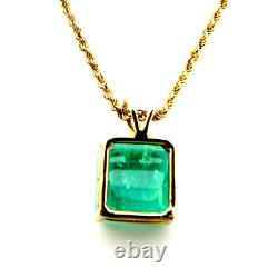 NYJEWEL GIA Certified 14k Yellow Gold 3.44ct Natural Emerald Pendant Necklace