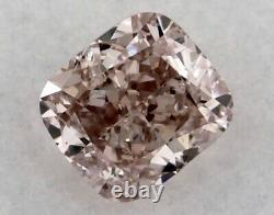 Natural SI Cushion Fancy Orangy Pink GIA Certified Loose Diamond Engagement Ring