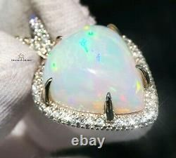 Opal Pendant Gold Necklace Diamond Natural 16.81CTW GIA Certified RETAIL $16200