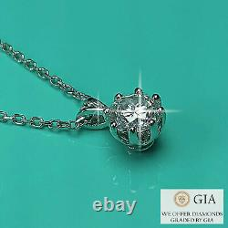 Pendant Necklace Gia Certified 0.5 Ct Natural Diamond 18k White Gold Rrp £4,650