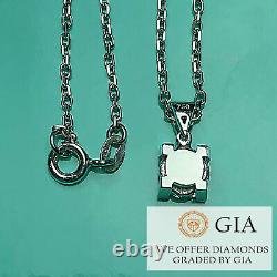 Pendant Necklace Gia Certified 0.5 Ct Natural Diamond 18k White Gold Rrp £4,880