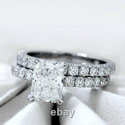 Platinum 1.50 ct. Radiant Cut Diamond Engagement Ring Pave GIA Certified H VS2