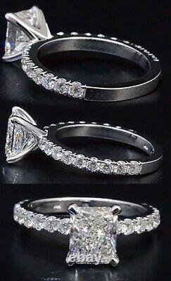 Stunning 1.50 Ct Radiant Cut Diamond Engagement Ring Pave GIA Certified E, VS1