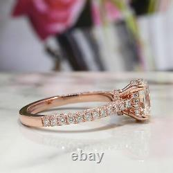 Stunning Oval Cut 2.10 Ct Diamond Engagement Ring with Pave H VS1 GIA Certified