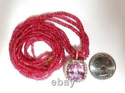120.81ct Natural Gia Certified Kunzite Diamonds Collier Spinel 18kt. Roses
