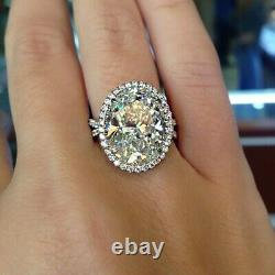Gia Certified Diamond Engagement Halo Style Anneau 4,17 Carat Oval Cut 18k Or
